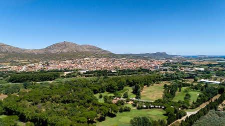 Aerial view of Torroella de Montgri city and castle in Catalonia