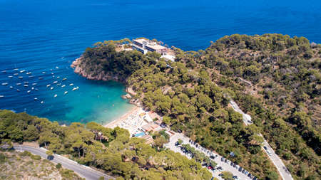 Aerial view of Aiguablava beach in Begur, Catalonia