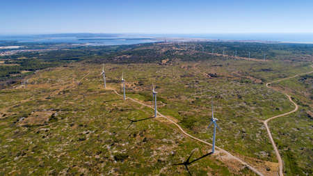 Aerial photo of wind turbines in the Corbieres mountains