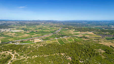 Aerial view of the A9 highway in the Corbieres, France