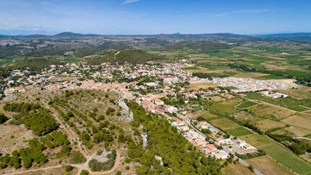 Aerial view of Roquefort des Corbieres in the Aude