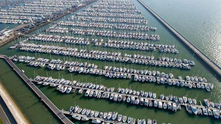 Aerial photo of boats in the Minimes harbor, La Rochelle Editöryel
