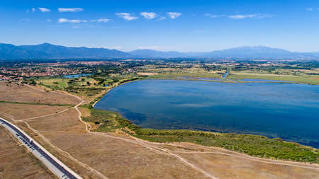Aerial view of the Canet and Saint Nazaire lake, France