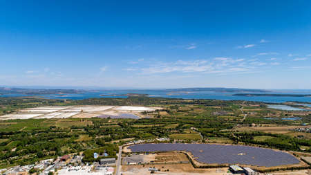 Aerial photo of the Berre and Bages Sigean lake, France