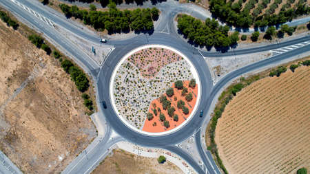 Aerial view of a roundabout in Sigean, France