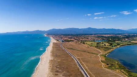 Aerial view of Saint Cyprien beach in the Pyrenees Orientales