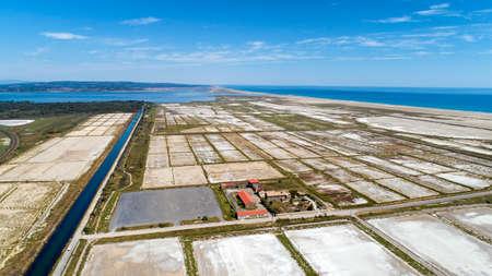 Aerial photo of Sainte Lucie salt marshes in Port La Nouvelle