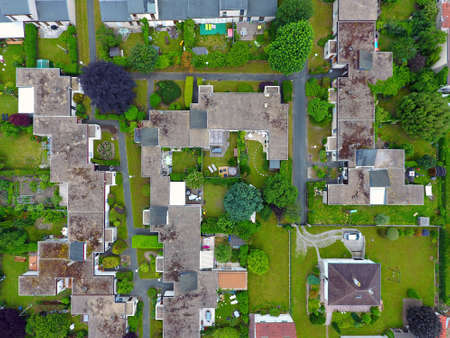 Aerial photography of a residential area in Andresy, Yvelines, France