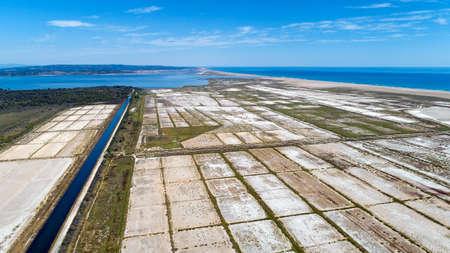 Aerial photo of Sainte Lucie salines in Port La Nouvelle Stok Fotoğraf