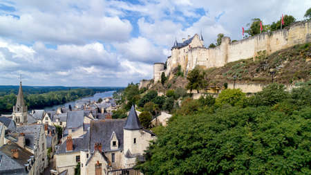 Aerial photo of Chinon medieval fortress in Indre and Loire Editöryel