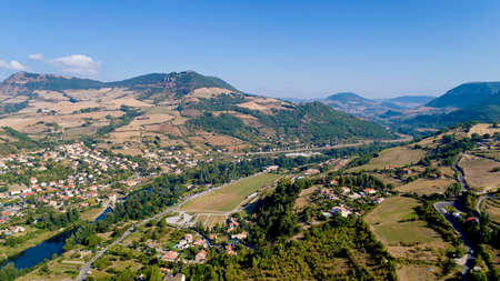 Aerial view of Millau and the Gorges du Tarn