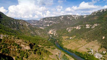 Aerial view of the Gorges du Tarn in Les Vignes, Lozere