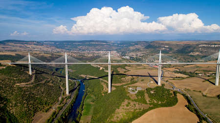Aerial view of Millau city and Viaduct in the Aveyron Banque d'images