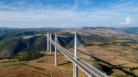 Aerial view of Millau city and Viaduct in the Aveyron