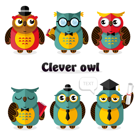 Clever owl bird cartoon characters set vector illustration. Science and education concept. Back to school design. Owl wisdom mascot with book, graduation cap, tie, scroll document, diploma, glasses. Illustration