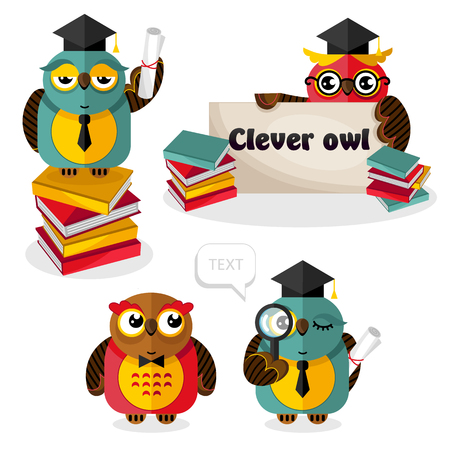 Clever owl bird cartoon character isolated vector illustration. Owl wisdom mascot standing with graduation cap, books, magnifier, text banner, tie and scroll document. Science and education concept.