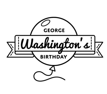 george washington: George Washingtons birthday emblem isolated vector illustration on white background. 22 february USA patriotic holiday event label, greeting card decoration graphic element