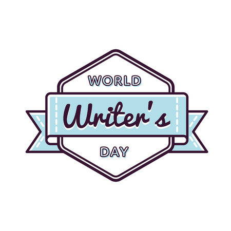 poet: World Writers day emblem isolated vector illustration on white background. 3 march world cultural holiday event label, greeting card decoration graphic element
