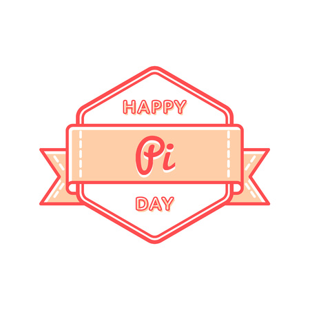 Happy Pi day emblem isolated vector illustration on white background. 14 march world mathematical holiday event label, greeting card decoration graphic element
