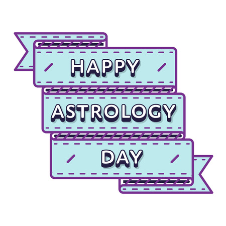 astral: Happy astrology day emblem isolated vector illustration on white background. 20 march world astral holiday event label, greeting card decoration graphic element Illustration