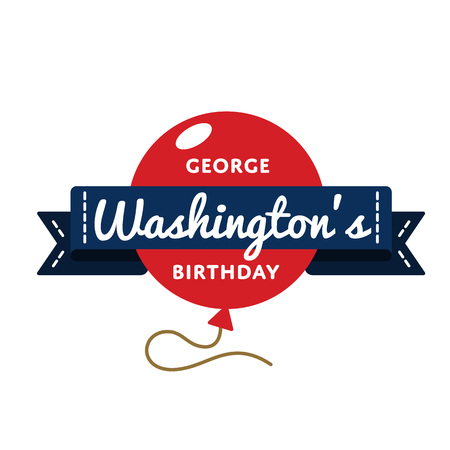 George Washingtons birthday greeting emblem Stock Photo