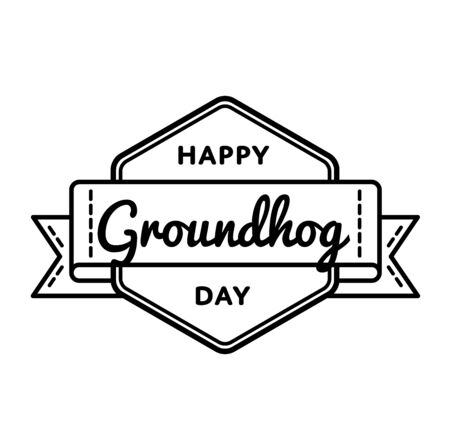 burrow: Happy Groundhog day greeting emblem