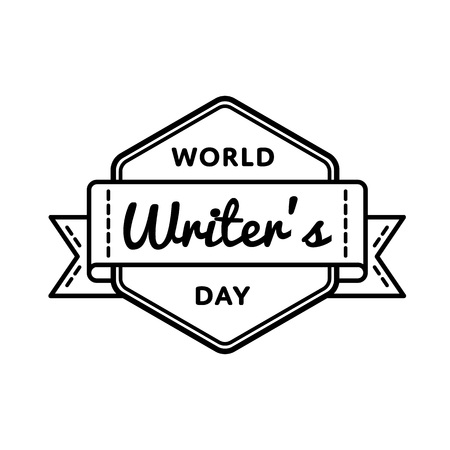 poet: World Writers day greeting emblem