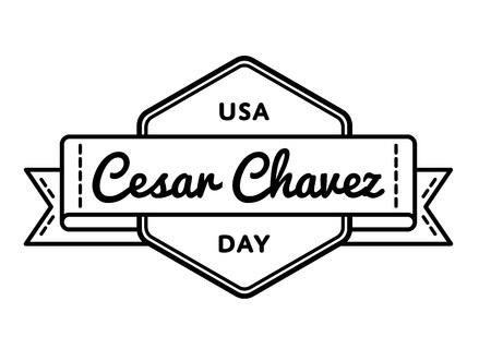 Cesar Chavez day greeting emblem Ilustração