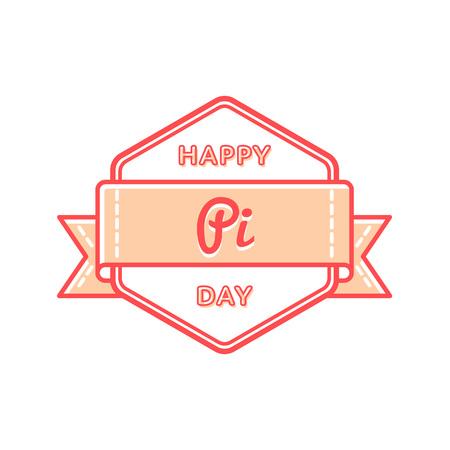 Happy Pi day greeting emblem Illustration