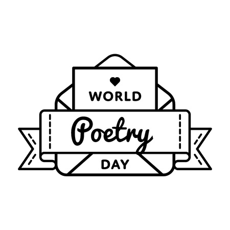 World Poetry day greeting emblem