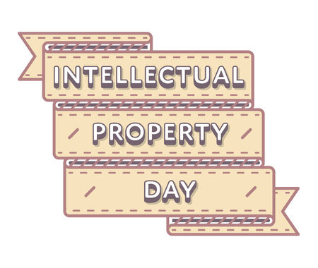 intellectual: World Intellectual Property day emblem isolated vector illustration on white background. 26 april world holiday event label, greeting card decoration graphic element