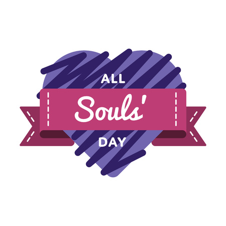 All Souls day emblem isolated vector illustration on white background. 2 november world catholic holiday event label, greeting card decoration graphic element