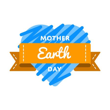 madre tierra: ilustración vectorial de la madre Día de tierra emblema sobre fondo blanco. 22 de april etiqueta evento de vacaciones mundial ecología, la decoración saludo tarjeta elemento gráfico