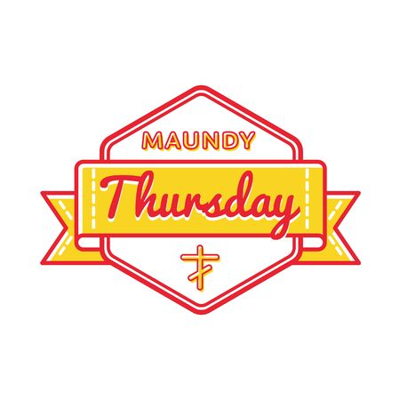 thursday: Maundy Thursday emblem isolated vector illustration on white background. 13 april world orthodox and catholic holiday event label, greeting card decoration graphic element Stock Photo