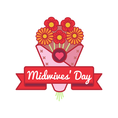 Happy Midwives day emblem isolated vector illustration on white background. 5 may world medical holiday event label, greeting card decoration graphic element