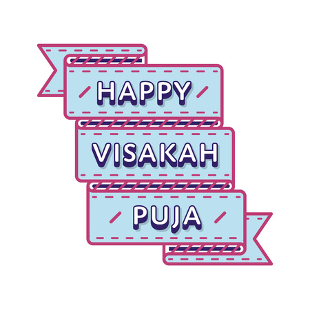 Happy Visakah Puja emblem isolated vector illustration on white background. 10 may world buddhistic holiday event label, greeting card decoration graphic element