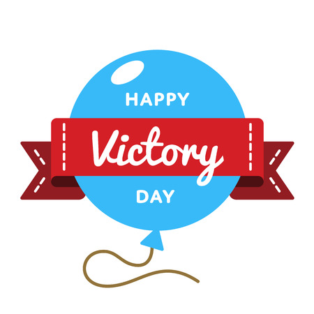 Happy Victory day emblem isolated vector illustration on white background. 9 may world patriotic holiday event label, greeting card decoration graphic element Illustration