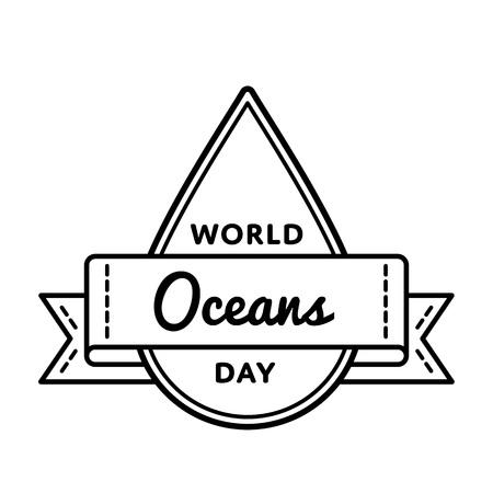 World Oceans day greeting emblem