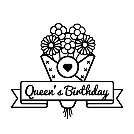 Happy Queens birthday greeting emblem