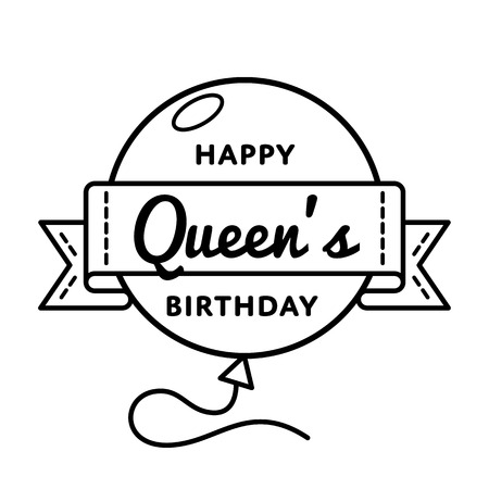Happy Queens birthday greeting emblem