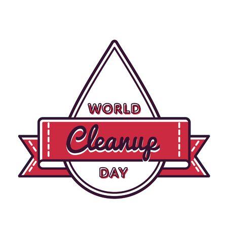 cleanup: World Cleanup day greeting emblem Illustration