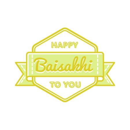 Happy Baisakhi emblem isolated illustration on white background. 14 april indian sikh traditional holiday event label, greeting card decoration graphic element
