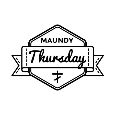 thursday: Maundy Thursday emblem isolated illustration on white background. 13 april world orthodox and catholic holiday event label, greeting card decoration graphic element