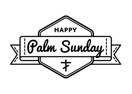 christianity palm sunday: Palm Sunday emblem isolated illustration on white background. 9 april world christian religious holiday event label, greeting card decoration graphic element