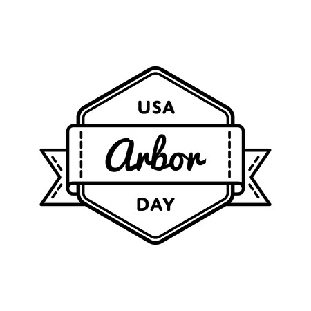 USA Arbor day emblem isolated illustration on white background. 28 april american ecological holiday event label, greeting card decoration graphic element Stock Photo