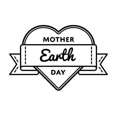madre tierra: aislado Madre Tierra divisa día ilustración sobre fondo blanco. 22 de april etiqueta evento de vacaciones mundial ecología, la decoración saludo tarjeta elemento gráfico