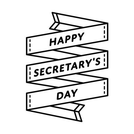 Happy Secretary day emblem isolated illustration on white background. 26 april world professional holiday event label, greeting card decoration graphic element