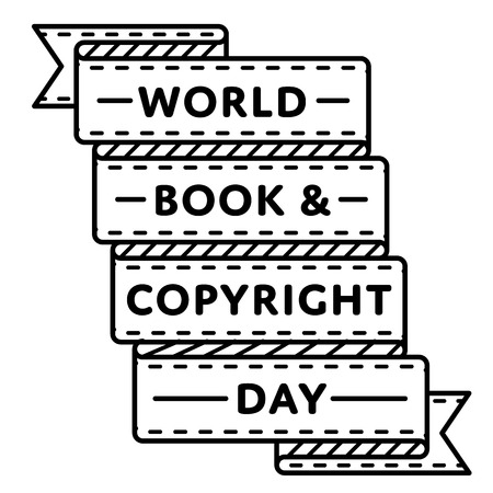 World Book and Copyright Day emblem isolated illustration on white background. 23 april world publishing holiday event label, greeting card decoration graphic element Stock Photo