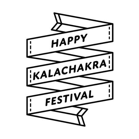 Happy Kalachakra festival emblem isolated illustration on white background. 10 april world buddhistic holiday event label, greeting card decoration graphic element