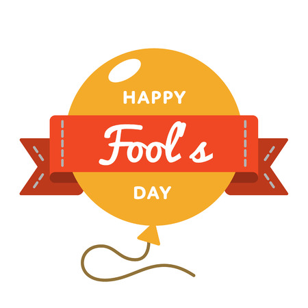 Happy Fools day emblem isolated illustration on white background. 1 april world comic holiday event label, greeting card decoration graphic element Stock Photo